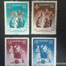 Sellos: COLOMBIA SCOUTS YVERT 605 + A-416/9. SERIE COMPLETA. Lote 202308250