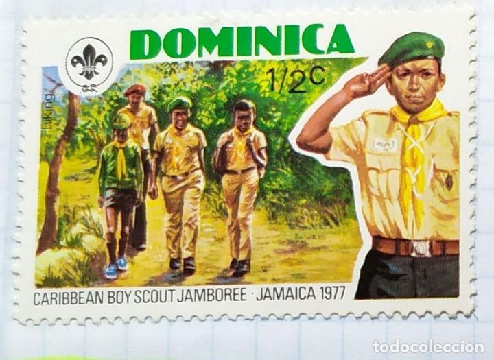 DOMINICA 1977 BOY SCOUT CARIBBEAN JABOREE JAMAICA SERIE DE TRES SELLOS (Sellos - Temáticas - Boy Scout)