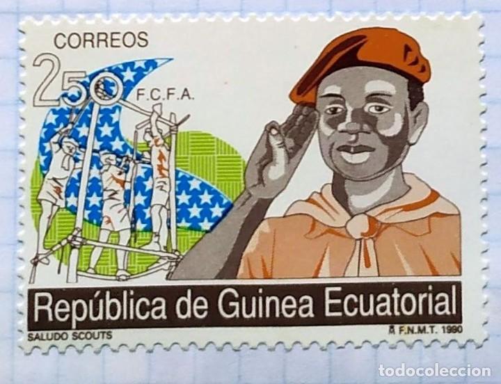 GUINEA ECUATORIAL MOVIMENTO BOY SCOUTS F.C.F.A. 1990 SERIE DE TRES SELLOS 02 (Sellos - Temáticas - Boy Scout)