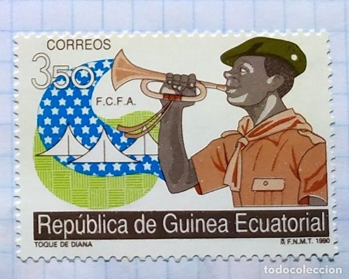 GUINEA ECUATORIAL MOVIMENTO BOY SCOUTS F.C.F.A. 1990 SERIE DE TRES SELLOS 03 (Sellos - Temáticas - Boy Scout)