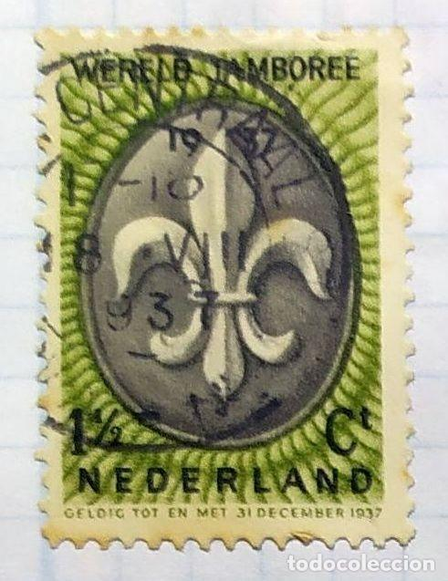 HOLANDA BOY SCOUTS WERELD JAMBOREE NEDERLAND 31 DE DICIEMBRE DE 1937 ESCUDO EMBLEMA SCOUT (Sellos - Temáticas - Boy Scout)