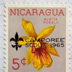 Sellos: NICARAGUA SELLOS FLORES CAMPOREE SCOUT 1965 BLETIA ROEZLII. Lote 203032832