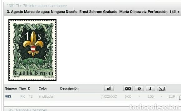Sellos: Sellos Austria (Osterreich) mtdos/1951/7th/jamborre/intern/scouts/emblema/insignea/bandera/flora - Foto 2 - 227646145