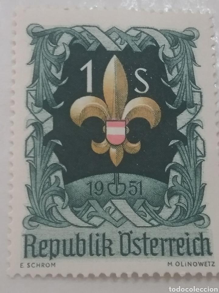 SELLOS AUSTRIA (OSTERREICH) MTDOS/1951/7TH/JAMBORRE/INTERN/SCOUTS/EMBLEMA/INSIGNEA/BANDERA/FLORA (Sellos - Temáticas - Boy Scout)