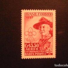 Sellos: BRASIL Nº YVERT AEREO 75** AÑO 1957.CENTENARIO NACIM. LORD BADEN POWELL.FUNDADOR SCOUTS.CON CHARNELA. Lote 208596600