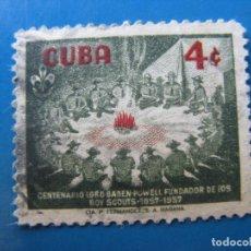 Sellos: +CUBA 1957, CENTENARIO DE BADEN-POWELL, FUNDADOR DEL SCOUTISMO, YVERT 449. Lote 210232910