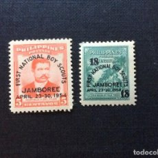 Sellos: FILIPINAS Nº 425/6** AÑO 1954. PRIMERA REUNION NACIONAL BOY SCOUTS. SERIE CON CHARNELA. Lote 215059927