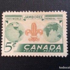 Sellos: CANADA Nº YVERT 283**. AÑO 1955. 5º JAMBOREE MUNDIAL DE SCOUTS. SELLO NUEVO SIN GOMA. Lote 218161682