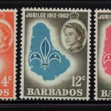 Sellos: BARBADOS 232/34** - AÑO 1962 - 50º ANIVERSARIO DEL MOVIMIENTO SCOUT LOCAL. Lote 219099235