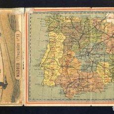 Sellos: DESPLEGABLE PUBLICITARIO DE GRAN BAZAR ALMACENES EL AGUILA, MADRID, BARCELONA, SEVILLA. MAPA ESPAÑA. Lote 219687152