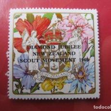 Selos: +NUEVA ZELANDA, 1969, VIÑETA 60 ANIV. MOVIMIENTO SCOUT. Lote 222747968