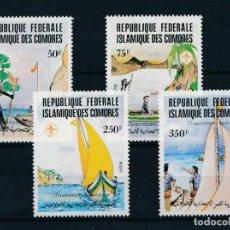 Sellos: COMORES 1982 IVERT 362/5 *** 75º ANIVERSARIO DEL SCOUTISMO - SCOUTS MARINOS. Lote 236334735