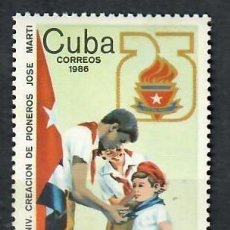 Sellos: CUBA 1986 THE 25TH ANNIVERSARY OF THE JOSE MARTI PIONEERS MNH - FLAGS, JOSE MARTI, PIONEERS. Lote 241366890