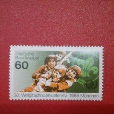 Sellos: SELLOS ALEMANIA, R. FEDERAL NUEVOS/1985/AÑO/INTERNACIONAL/JUVENTUD/INFANCIA/EMBLEMA/NIÑOS/SCOUTS. Lote 241986575