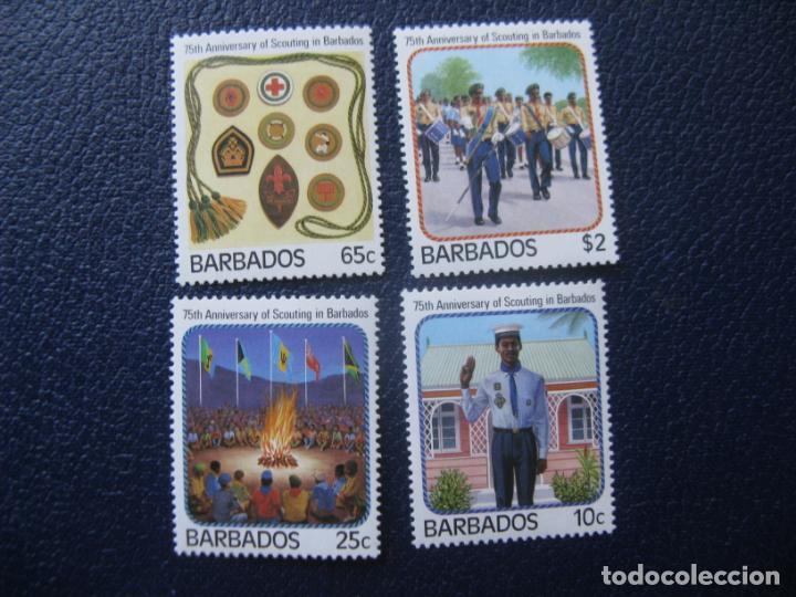 BARBADOS, 1987, 75 ANIVERSARIO DEL SCOUTISMO EN BARBADOS, YVERT 690/93 (Sellos - Temáticas - Boy Scout)
