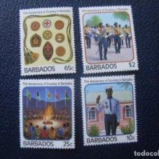 Sellos: BARBADOS, 1987, 75 ANIVERSARIO DEL SCOUTISMO EN BARBADOS, YVERT 690/93. Lote 243647085