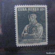 Sellos: *CUBA, 1957, CENTENARIO DE LORD BADEN-POWELL FUNDADOR DEL SCOUTISMO, YVERT 152 AEREO. Lote 248713180