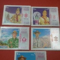 Sellos: SELLO SHARJAH (E.A.U) MTDO/1971/BOY/SCOUTS/JAMBOREE/AGUILA/AVE/ARQUEOLOGIA/PIRAMIDE/ANTENA/. Lote 260764995