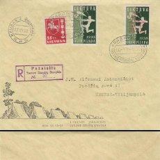 Sellos: LITUANIA, 8ª REUNIÓN DE BOYS SCOUTS, MATASELLO DE 17-7-1938, CIRCULADO. Lote 286303903