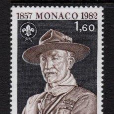 Sellos: MONACO 1334** - AÑO 1982 - SCOUT - 125º ANIVERSARIO DEL NACIMIENTO DE LORD BADEN POWELL. Lote 288093463