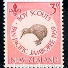 Sellos: NUEVA ZELANDA IVERT Nº 374 (AÑO 1959), PAN PACIFIC BOY SCOUT JAMBOREE (KIWI), SIN MATASELLAR. Lote 296707718