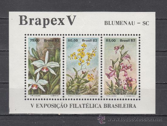 BRASIL HB 48 SIN CHARNELA, FLORES, BRAPEX V, 5º EXPOSICION FILATELICA INTERNACIONAL EN BLUMENAU, (Sellos - Extranjero - América - Brasil)