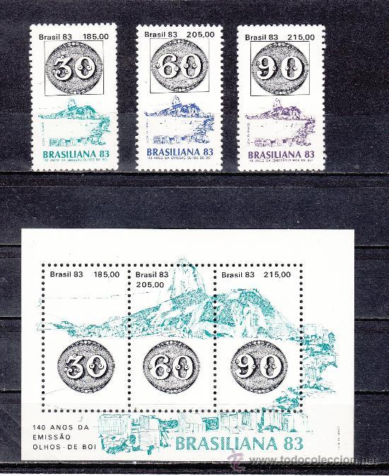 BRASIL 1615/7, HB 54 SIN CHARNELA, BRASILIANA 83, EXPOSICION FILATELICA INTERNACIONAL, (Sellos - Extranjero - América - Brasil)