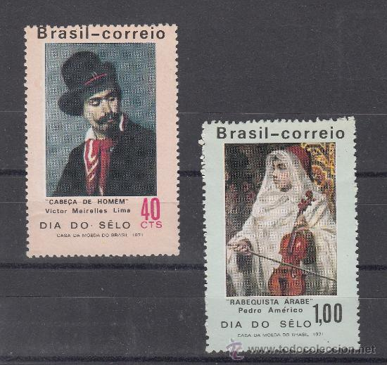 BRASIL 957/8 SIN CHARNELA, PINTURA, DIA DEL SELLO, (Sellos - Extranjero - América - Brasil)