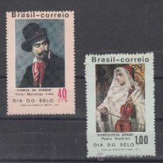 Sellos: BRASIL 957/8 SIN CHARNELA, PINTURA, DIA DEL SELLO, . Lote 26397917