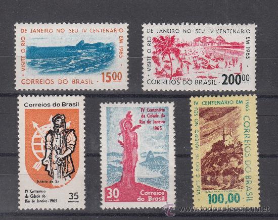 BRASIL 758/61, 759B SIN CHARNELA, IV CENTENARIO DE RIO DE JANEIRO (Sellos - Extranjero - América - Brasil)