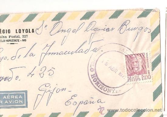 SOBRE SELLO VIA AEREA BRASIL AÑOS 70 (Sellos - Extranjero - América - Brasil)