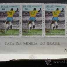 Sellos: BLOQUE DE 5 SELLOS. CASA DA MOEDA DO BRASIL GOL DE PELÉ 1969.. Lote 36608674