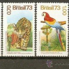 Sellos: BRASIL YVERT NUM. 1084/7 ** SERIE COMPLETA SIN FIJASELLOS FAUNA Y FLORA. Lote 37219040