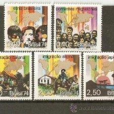 Sellos: BRASIL YVERT NUM. 1101/5 ** SERIE COMPLETA SIN FIJASELLOS . Lote 37219089