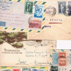 Sellos: BRASIL CINCO CARTAS CON PUBLICIDAD O VIÑETAS AL DORSO. Lote 42662421