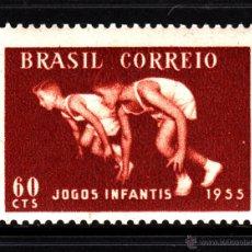 Sellos: BRASIL 605** - AÑO 1955 - JUEGOS DEPORTIVOS DE LA JUVENTUD - ATLETISMO. Lote 44331595
