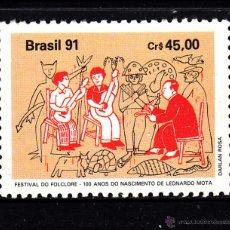 Sellos: BRASIL 2030** - AÑO 1991 - FESTIVAL DE FOLKLORE - CENTENARIO DEL NACIMIENTO DE LEONARDO MOTA. Lote 276537613