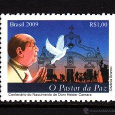 Sellos: BRASIL 3046** - AÑO 2009 - PERSONAJES - HELDER CAMARA - ARZOBISPO DE OLINDA Y RECIFE. Lote 44827064