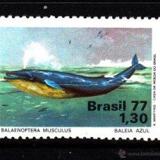 Sellos: BRASIL 1262* - AÑO 1977 - PROTECCION DE LA NATURALEZA - FAUNA MARINA - BALLENA AZUL. Lote 44891711