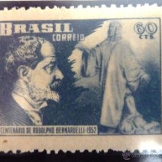Sellos: SELLOS BRASIL 1952. NUEVO. CENTENARIO RODOLFO BERNADELLI. Lote 47865110