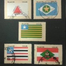 Sellos: SELLOS DE BRASIL. BANDERAS. YVERT 1698/702. SERIE COMPLETA USADA.. Lote 53775795