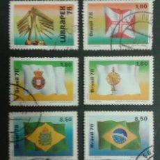 Sellos: SELLOS DE BRASIL. BANDERAS. YVERT 1330/5. SERIE COMPLETA USADA.. Lote 53775832