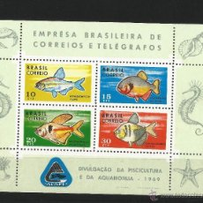 Sellos: BRASIL 1969 HOJA BLOQUE PECES. Lote 54249723