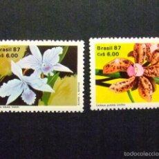 Sellos: BRASIL BRÉSIL 1987 FLORES ORQUIDEAS YVERT Nº 1861 / 62 ** MNH. Lote 58893716