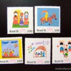Sellos: BRASIL BRÉSIL 1976 NAVIDAD NOËL DIBUJOS INFANTILES YVERT Nº 1225 /29 ** MNH . Lote 59087435