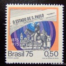 Sellos: BRASIL BRÉSIL 1975 CENTENAIRE DUJOURNAL -O ESTADO DE S. PAULO-YVERT Nº 1134 ** MNH. Lote 59087495