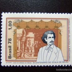 Sellos: BRASIL BRÉSIL 1978 CARLOS GOMES COMPOSITOR YVERT Nº 1305 ** MNH. Lote 59161410