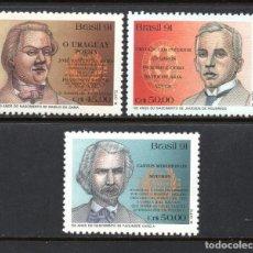Sellos: BRASIL 2031/33** - AÑO 1991 - LITERATURA BRASILEÑA - ESCRITORES. Lote 276522068