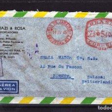 Sellos: FRANQUEO MECANICO BRASIL 1945 RIO DE JANEIRO - SUIZA, ABIERTA CENSURA MILITAR SEGUNDA GUERRA MUNDIAL. Lote 64707463