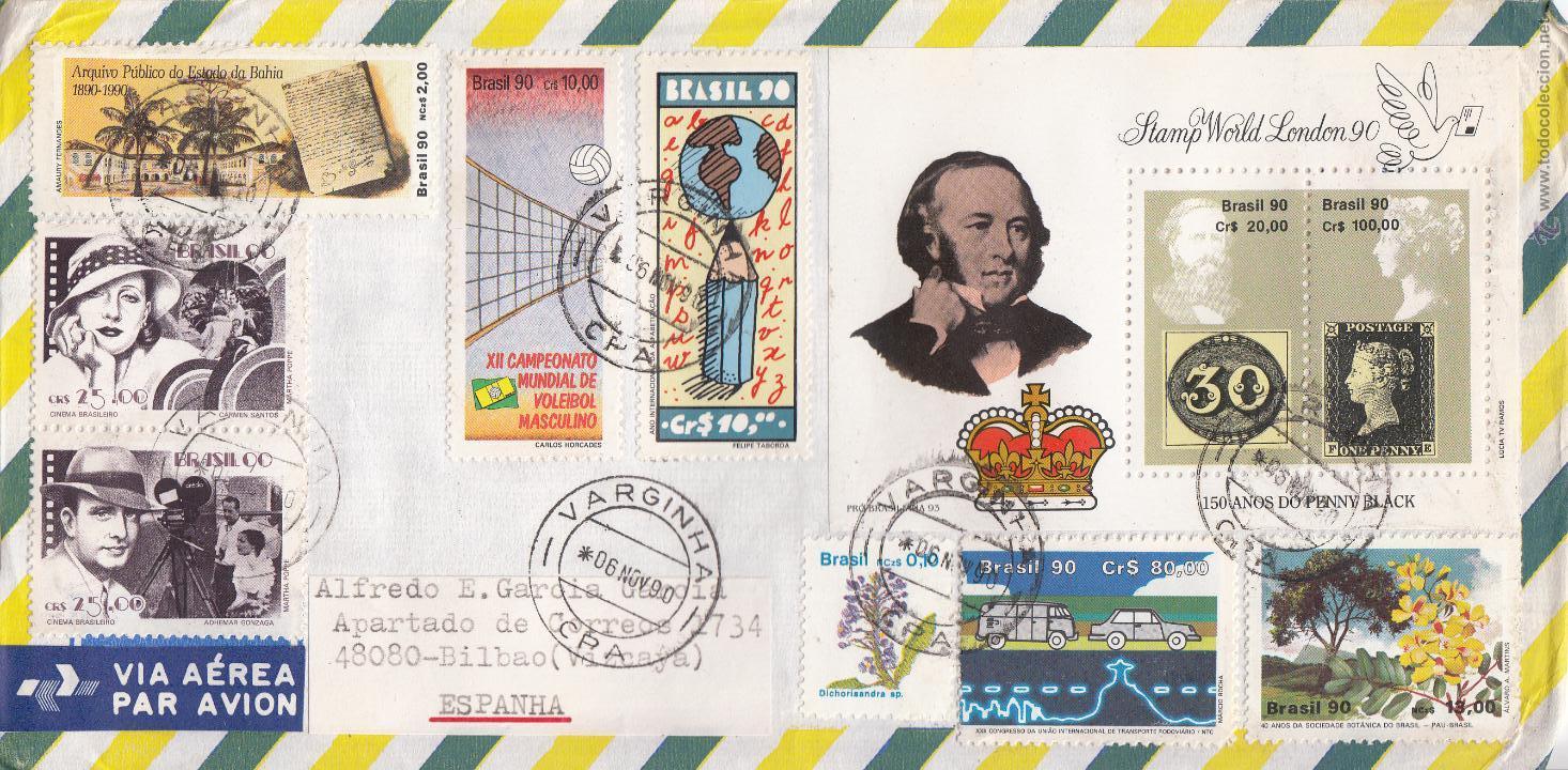 SOBRE: 1990 BRASIL. VARGINHA - STAMP WORD LONDON 90 (Sellos - Extranjero - América - Brasil)